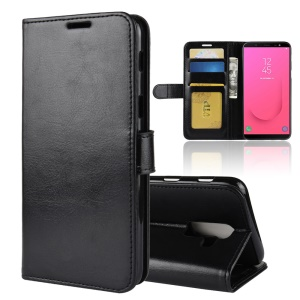 Crazy Horse Texture Wallet Stand Leather Case Cover for Samsung Galaxy J8 (2018) - Black