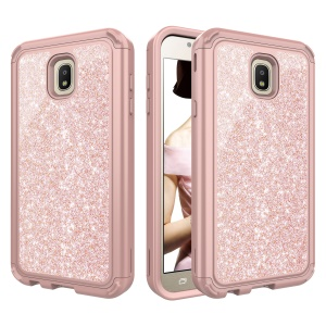 Glitter Powder Shockproof TPU PC Combo Mobile Phone Back Case for Samsung Galaxy J7 (2018) J737 - Rose Gold