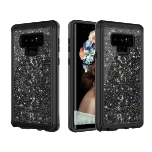 Glitter Powder Shockproof TPU PC Hybrid Mobile Phone Back Case for Samsung Galaxy Note 9 - Black