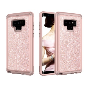 Glitter Powder Shockproof TPU PC Hybrid Mobile Phone Back Cover for Samsung Galaxy Note 9 - Rose Gold