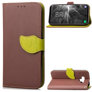 Leaf Shape Magnetic Flap Leather Wallet Phone Case for Samsung Galaxy Note 9 - Brown