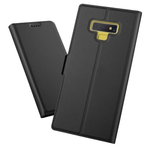 Auto-absorbed Magnetic Stand Leather Card Holder Mobile Case for Samsung Galaxy Note 9 - Black
