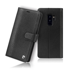PIERRE CARDIN Litchi Skin Genuine Leather Protection Mobile Phone Case for Samsung Galaxy S9+ SM-G965 - Black
