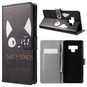 Pattern Printing Wallet Leather Protection Mobile Phone Case for Samsung Galaxy Note 9 - Do Not Touch My Cell Phone