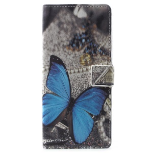Pattern Printing Wallet Leather Stand Mobile Phone Cover for Samsung Galaxy Note 9 - Blue Butterfly