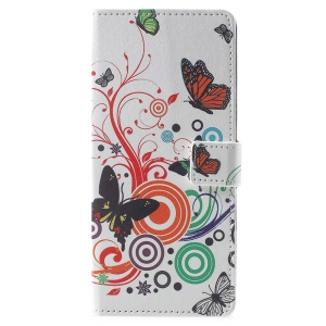 Pattern Printing PU Leather Wallet Stand Case Cover for Samsung Galaxy Note 9 - Butterflies and Circles
