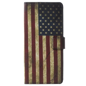 Pattern Printing Wallet Stand Leather Cover for Samsung Galaxy Note 9 - Vintage American Flag