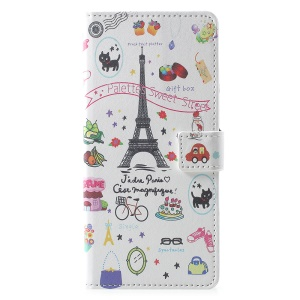 Pattern Printing Wallet Leather Mobile Case Accessory for Samsung Galaxy Note 9 - Eiffel Tower