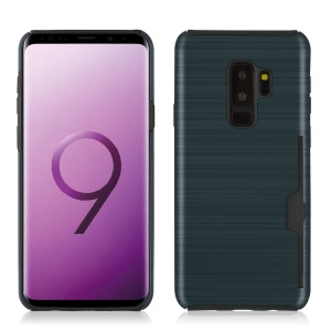 Brushed Texture PC + TPU Hybrid Protection Cover with Card Slot for Samsung Galaxy S9 Plus SM-G965 - Dark Blue