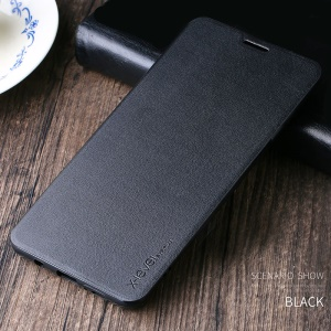 X-LEVEL Fib Color II Slim Leather Stand Phone Case for Samsung Galaxy A8 Star /  A9 Star - Black