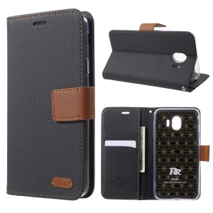 ROAR KOREA Twill Leather Wallet Magnetic Stand Case for Samsung Galaxy J4 (2018) - Black
