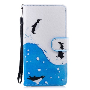 For Samsung Galaxy J4 (2018) Patterned Leather Wallet Protective Folio Casing - Penguins