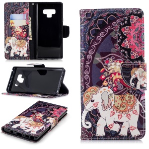 Pattern Printing Wallet Stand Leather Mobile Phone Cover for Samsung Galaxy Note 9 - Elephant and Peacock