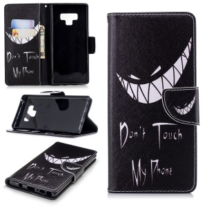 Pattern Printing PU Leather Wallet Stand Phone Casing for Samsung Galaxy Note 9 - Angry Face