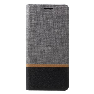 Cross Texture Contrast Color Stand Leather Phone Cover for Samsung Galaxy A8 Star / A9 Star - Grey