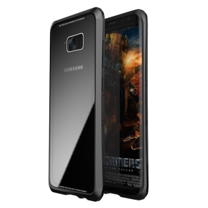 LUPHIE Double Dragon Tempered Glass Back + PC + Metal Hybrid Phone Cover for Samsung Galaxy S8+ G955 - All Black