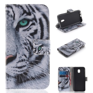Pattern Printing Wallet Stand Leather Cover for Samsung Galaxy J3 (2018) J337 / J3 Star - Tiger with Green Eye