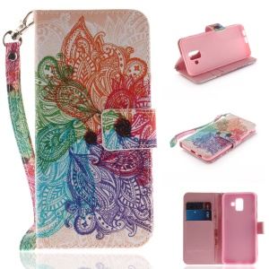 Patterned Wallet Leather Cover with Card Holder for Samsung Galaxy A6 (2018) - Colorized Flower
