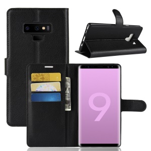 Litchi Texture Wallet Stand Leather Phone Case for Samsung Galaxy Note 9 - Black