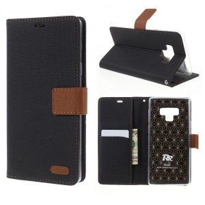 ROAR Twill Leather Wallet Magnetic Stand Case for Samsung Galaxy Note 9 - Black