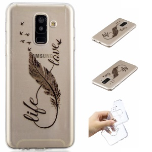 Pattern Printing Embossed TPU Flexible Phone Casing for Samsung Galaxy A6 Plus (2018) / A9 Star Lite - Black Quill Pen