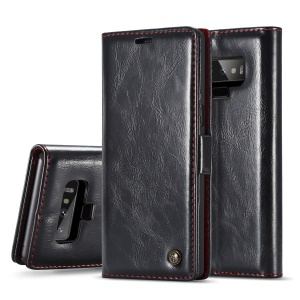CASEME 003 Series Oil Wax Leather Magnetic Wallet Stand Case for Samsung Galaxy Note 9 - Black