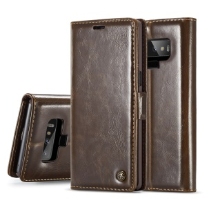 CASEME Oil Wax Leather Wallet Stand Case Accessory for Samsung Galaxy Note 9 - Brown