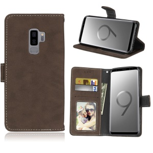 Matte Surface PU Leather Wallet Stand Cellphone Cover for Samsung Galaxy S9+ G965 - Brown