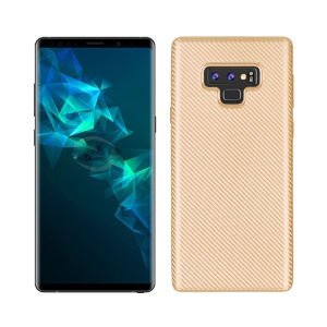 Carbon Fiber Texture Soft TPU Cell Phone Casing for Samsung Galaxy Note 9 - Gold
