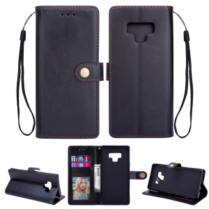 Metal Buckle Leather Stand Wallet Case for Samsung Galaxy Note 9 - Black