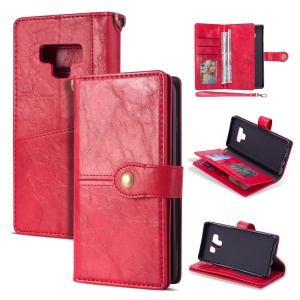 Retro Metal Buckle Wallet Stand Leather Cover with Multi Card Slots for Samsung Galaxy Note 9 - Red
