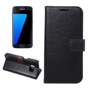 Crazy Horse Leather Wallet Case for Samsung Galaxy S7 G930 - Black