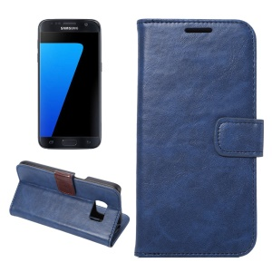 Crazy Horse Leather Wallet Case Cover for Samsung Galaxy S7 G930 - Blue
