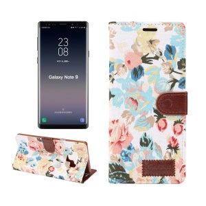 Flower Cloth Skin PU Leather Stand Casing for Samsung Galaxy Note 9 - White