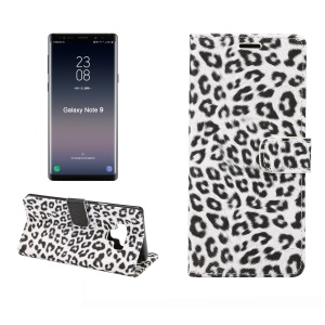 Leopard Pattern Wallet Stand Leather Phone Cover for Samsung Galaxy Note 9 - White
