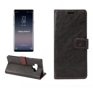Dual-sided Magnetic Crazy Horse Leather Wallet Case for Samsung Galaxy Note 9 - Black