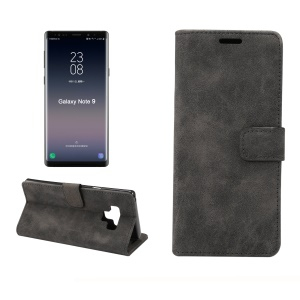 Retro Style Leather Wallet Flip Case with Stand for Samsung Galaxy Note 9 - Black