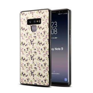 Patterned PU Leather Coated Plastic + TPU Hybrid Protection Shell Case for Samsung Galaxy Note9 N960 - Blue Flower