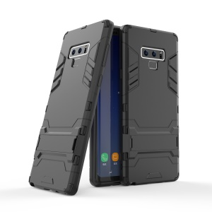 Cool Guard Plastic + TPU Hybrid Phone Case with Kickstand for Samsung Galaxy Note 9 - Black