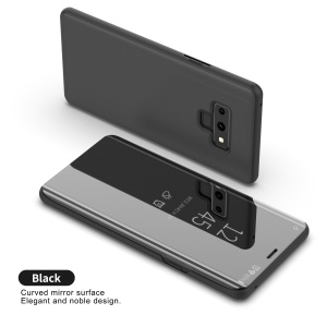 For Samsung Galaxy Note9 N960 Electroplating Mirror Surface View Window Leather Stand Case - Black