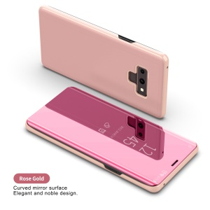 For Samsung Galaxy Note9 N960 Electroplating Mirror Surface View Window Leather Stand Folio Cover Accessory - Rose Gold