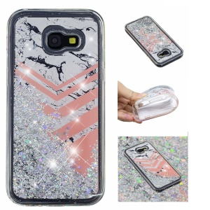Patterned Dynamic Glitter Powder Sequins TPU Cellphone Cover for Samsung Galaxy A5 (2017) A520 - Marble and V Shape Pattern