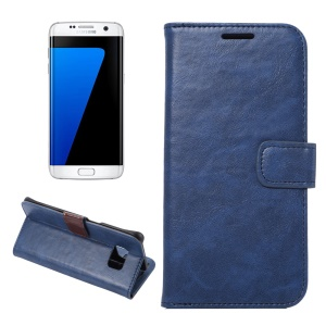 Crazy Horse Leather Wallet Case for Samsung Galaxy S7 edge G935 - Blue