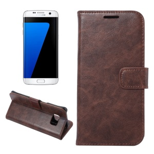 Crazy Horse Leather Card Holder Case for Samsung Galaxy S7 edge G935 - Coffee