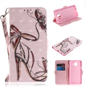 Pattern Printing Light Spot Decor Stand Leather Wallet Cell Phone Shell for Samsung Galaxy J4 (2018) - High Heel Shoes