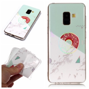 Marble Pattern Plated IMD TPU Mobile Case for Samsung Galaxy A8 (2018) - Cyan / White