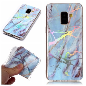 Marble Pattern Plated IMD TPU Cell Phone Case for Samsung Galaxy A8 (2018) - Blue
