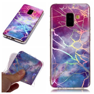 Marble Pattern Plated IMD TPU Cover Protector for Samsung Galaxy A8 (2018) - Multi-color