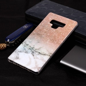 Pattern Printing IMD TPU Back Shell for Samsung Galaxy Note 9 - Grey Marble / Glittery Powder