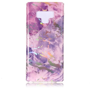 Marble Pattern Plated IMD TPU Phone Shell for Samsung Galaxy Note 9 - Dark Purple